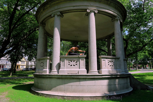 Krystelle Stretches On The Gazebo At The Park In Bayonne