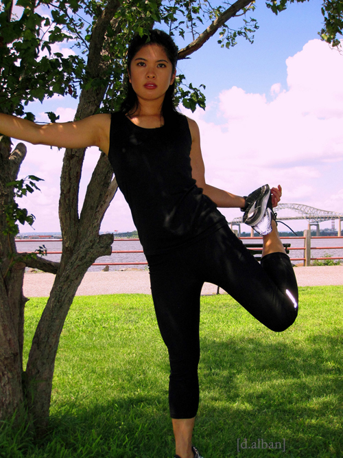 Krystelle Stretching At The Park In Bayonne